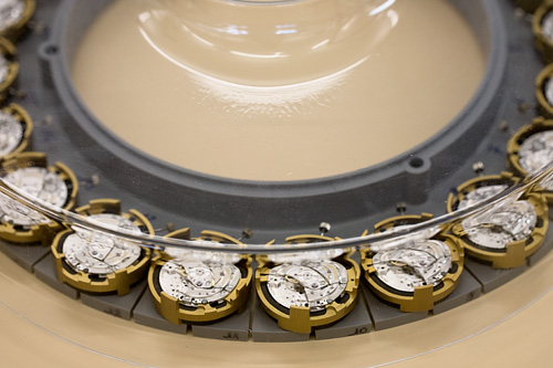 A closer look at a production line tray for the 3120 calibre at Audemars Piguet