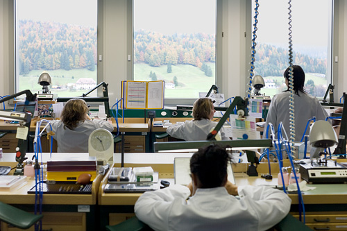 Splendid view on the Joux Valley seen from a workshop at Audemars Piguet
